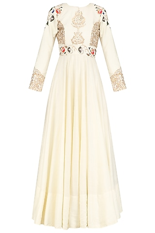 Ivory Zardozi Embroidered Kalidar Gown by Faabiiana