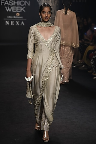 Light Olive Green Wrap Dress and Pants Set by Faabiiana