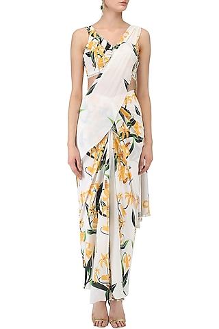 White Lily Print Stitched Saree and Blouse Set by Farah Sanjana