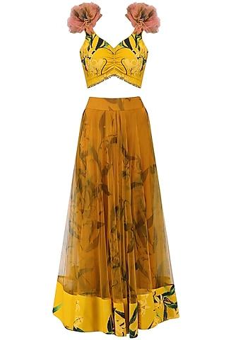 Mustard Lily Print Lehenga Skirt and Knotted Blouse Set by Farah Sanjana