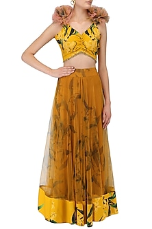 Mustard Lily Print Lehenga Skirt and Knotted Blouse Set by Farah Sanjana