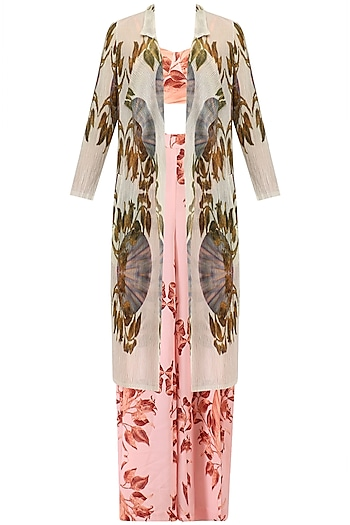 Pink Lily Print Palazzo Pants, Bralet and Jacket Set by Farah Sanjana