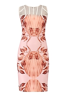 Pink Lily Print Fitted Dress by Farah Sanjana
