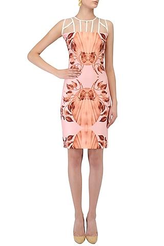 Pink Lily Print Fitted Dress by Farah Sanjana
