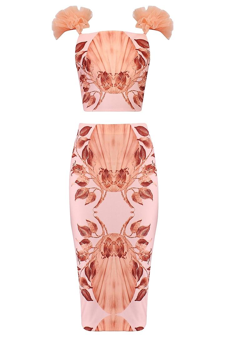 Pink Lily Print Skirt and Crop Top Set by Farah Sanjana