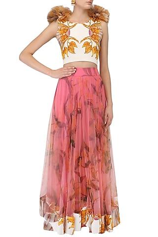 Pink Lily Print Lehenga and Ruffled Blouse Set by Farah Sanjana