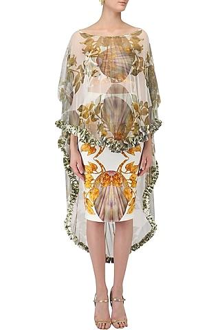 White Lily Print Skirt, Bustier and Cape Set by Farah Sanjana