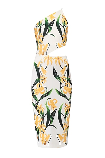 White Lily Print One Shoulder Dress by Farah Sanjana