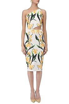 White Lily Print One Shoulder Dress by Farah Sanjana