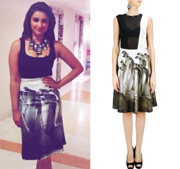 Black and white bodysuit with printed A-line skirt by Farah Sanjana
