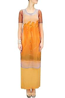 Flamingo print cape with orange slip dress by Farah Sanjana