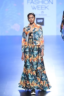 Multi Coloured Floral Long Dress And Bomber Jacket by Farah Sanjana