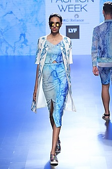 Blue Wave Print Cut Out Dress And Mermaid French Coat by Farah Sanjana