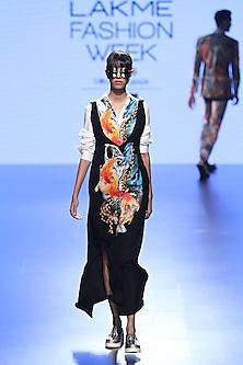 Black Fish Print Long Dress And White Shirt by Farah Sanjana