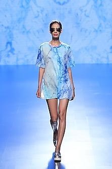 Blue Wave Print Shirt Dress by Farah Sanjana