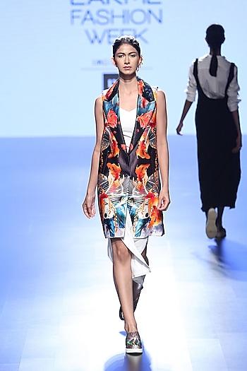 White Long High Slit Dress And Multi Coloured Fish Print Jacket by Farah Sanjana