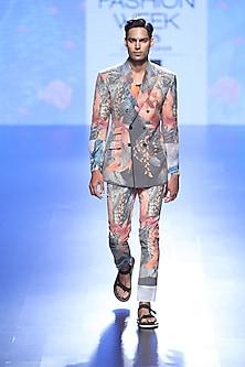 Multi Coloured Fish Photoreal Print Coat And Trouser Pants by Farah Sanjana