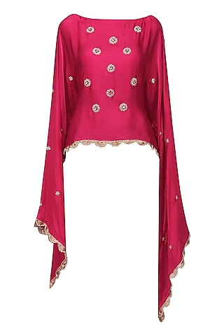 Hot Pink Nargis Embroidered Cape by Fancy Pants
