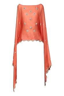 Orange Nargis Embroidered Cape by Fancy Pants