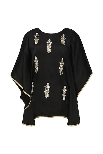 Black Meera Embellished Cape Sleeves Top by Fancy Pants