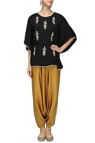 Black Meera Embellished Cape Sleeves Top by Fancy Pants