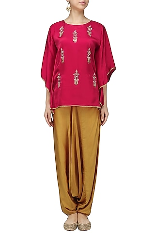 Red Meera Embellished Cape Sleeves Top by Fancy Pants