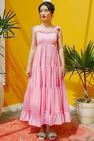 Pink Chiffon Layered Tiered Maxi Dress by House of Fett