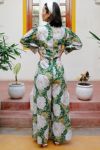 Green Floral Printed Jumpsuit by House of Fett