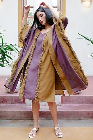 Purple & Mustard Kaftan With Fringes by House of Fett