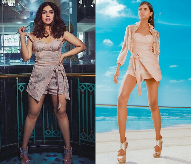 Blush Pink Tie-Up Romper With Jacket by Babita Malkani