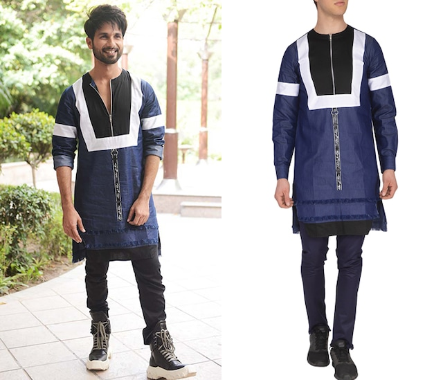 Blue Denim Crew Neck Kurta by The Natty Garb