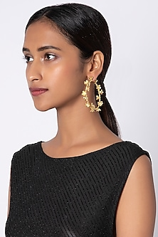 Gold Plated Handcrafted Hoop Earrings by Fusio