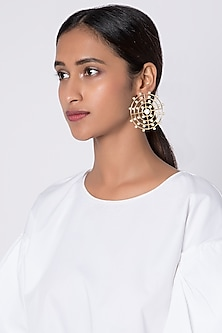 Gold Plated Handcrafted Pearl Earrings by Fusio