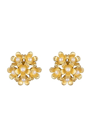 Gold Plated Handcrafted Stud Earrings by Fusio