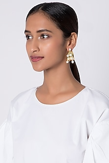 Gold Plated Pearl Hoop Earrings by Fusio