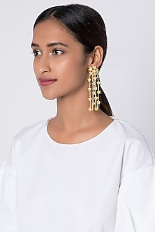 Gold Plated Detachable Dangler Earrings by Fusio