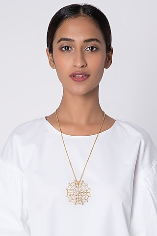 Gold Plated Pendant Chain Necklace by Fusio