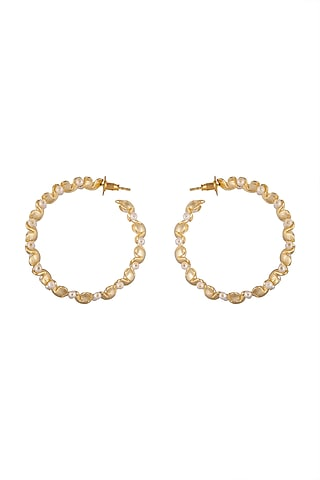 Gold Plated Handcrafted Pearl Hoop Earrings by Fusio