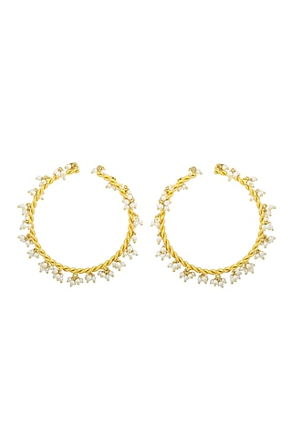 Gold Plated Handcrafted Pearl Bangles by Fusio