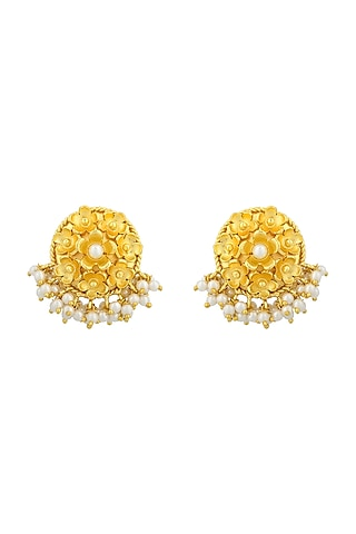 Gold Plated Handcrafted Pearl Stud Earrings by Fusio