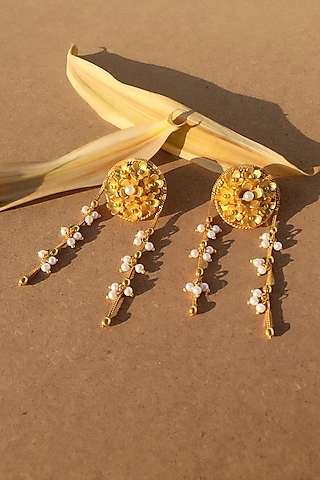 Gold Plated Pearl Hanging Chain Earrings by Fusio