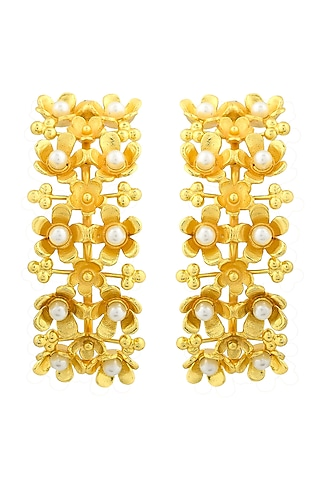 Gold Plated Handcrafted Pearl Half Hoop Earrings by Fusio