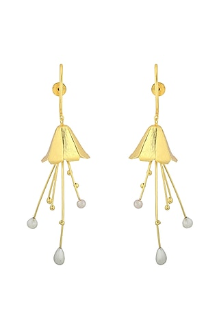Gold Plated Handcrafted Pearl Tulip Earrings by Fusio