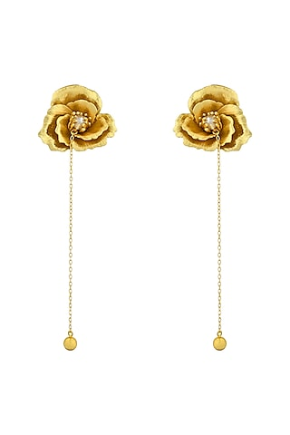 Gold Plated Handcrafted Pearl Rose Chain Earrings by Fusio