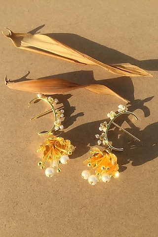 Gold Plated Handcrafted Pearl Mini Tulip Earrings by Fusio