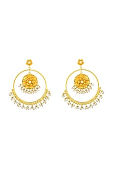 Gold Plated Handcrafted Pearl Chandbali Earrings by Fusio-JEWELLERY AS GIFTS