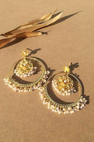 Gold Plated Handcrafted Pearl Chandbali Earrings by Fusio