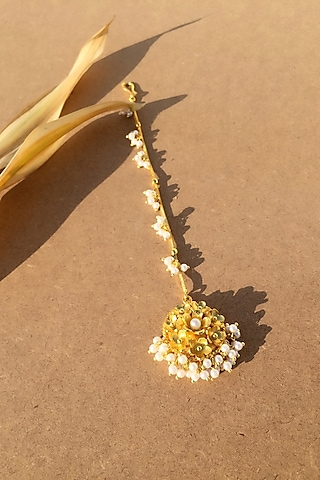 Gold Plated Handcrafted Pearl Maang Tikka by Fusio