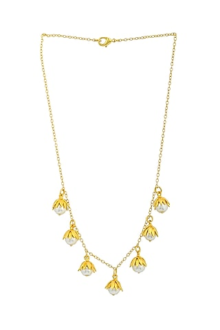Gold Plated Handcrafted Pearl Drop Necklace by Fusio