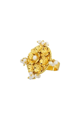 Gold Plated Handcrafted Pearl Adjustable Ring by Fusio